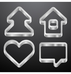 Silver icons of house bubble heart tree vector