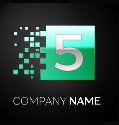 silver number five logo symbol in the green square vector image