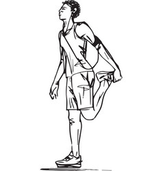 sketch of runners stretching vector image