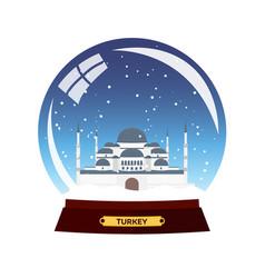 snow globe city turkey winter travel vector image