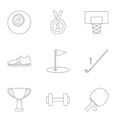 sports accessories icons set outline style vector image