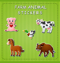 Stration of cute cartoon farm animals on sticker vector