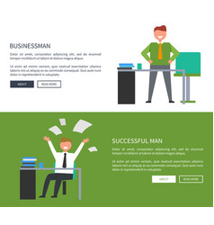 succsessful man and businessman on workplaces vector image