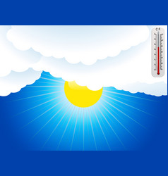 Sun clouds and thermometer background vector
