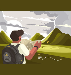 Traveler with map planning route to mountains vector