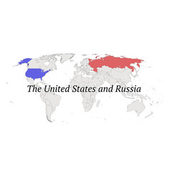United states and russia contour world map vector
