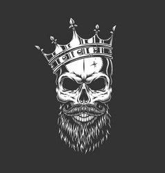 Vintage monochrome prince skull in crown vector