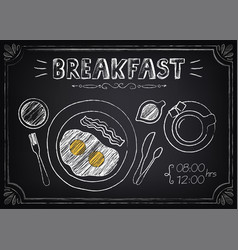 Vintage poster breakfast with fried eggs and vector