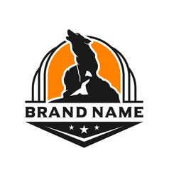 wolf shield logo design template vector image