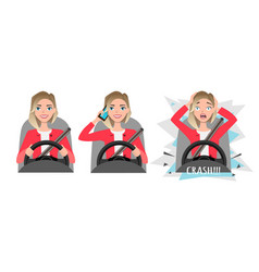Woman holding mobile phone while driving car vector