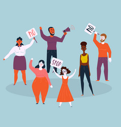 women and men protest with stop and no signs vector image