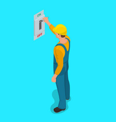 Worker man turns electric knife switch vector