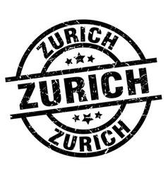 Zurich black round grunge stamp vector
