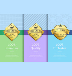 100 exclusive premium quality labels on posters vector image