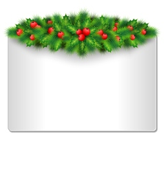Frame with holly and pine isolated on white vector image vector image