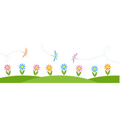 horizontal background with flowers and dragonflies vector image vector image