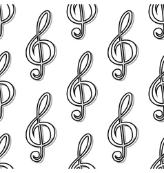 Outline seamless pattern with musical clefs vector