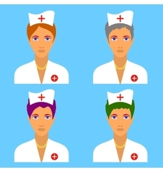 set of nurse characters vector image vector image