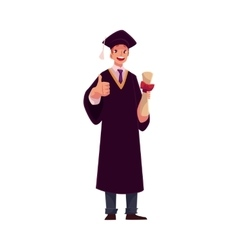 Student in graduation gown and cap with diploma vector image vector image
