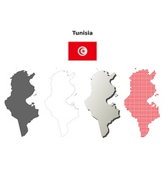 Tunisia outline map set vector image vector image