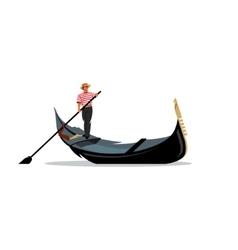 Venice gondola gondolier rowing oar sign vector image vector image