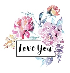 Watercolor floral bouquet of red roses vector