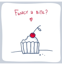 Cute sketch of the bitten cupcake valentine card vector image