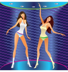 Dancing girls on stage in a club vector image vector image