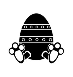easter egg with bunny paw pictogram vector image vector image