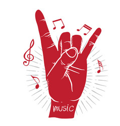 Music i love you language hand sign background vec vector