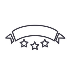 ribbon with stars line icon sign vector image