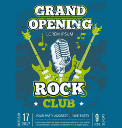 rock music club poster with music guitars vector image