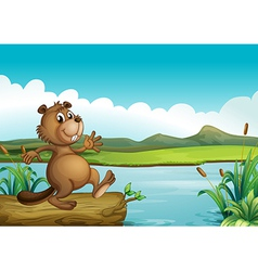 A beaver above a floating wood vector image