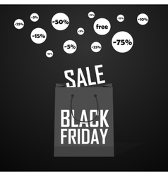 Black Friday shopping bag and sales vector image