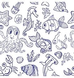 Cartoon Funny Fish Sea Life seamless pattern vector image vector image