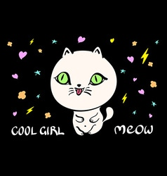 Cute cat for t-shirt or other usesin vector image