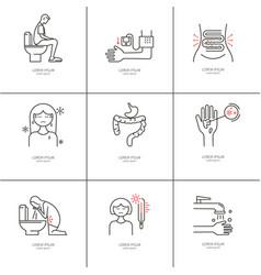 diarrhea monoline icons vector image