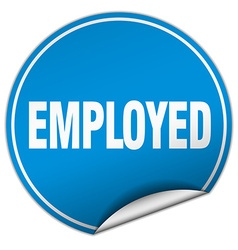 Employed round blue sticker isolated on white vector