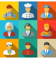 Flat icons with people faces of different vector image vector image