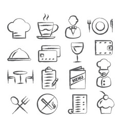 restaurant doodle icons vector image