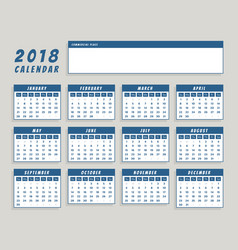 year 2018 calendar in blue simple design vector image