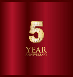 5 year anniversary gold with red background vector