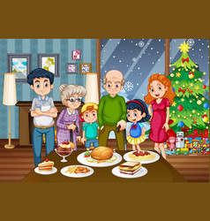 a big family at the dining table vector image