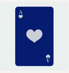 Ace hearts blue icon on lined paper background vector