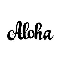 Aloha hawaiian greeting calligraphy design vector