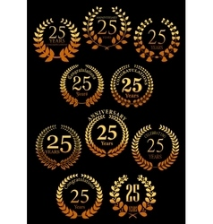 Anniversary golden heraldic laurel wreaths icons vector
