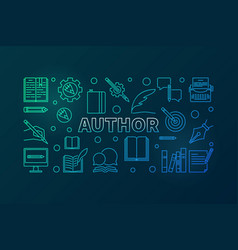 Author colorful line horizontal banner vector