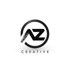 Az brush letter logo design creative brushed vector