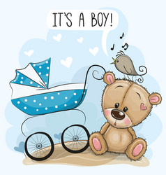 baby carriage and teddy bear vector image