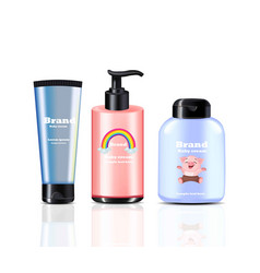 Baby cream and spray realistic cosmetics vector